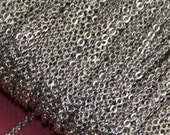 100 ft of Antique Silver Plated very Flat Soldered Cable Chain 1.2mm, brass bulk chain, bulk antique silver chain, bulk chain
