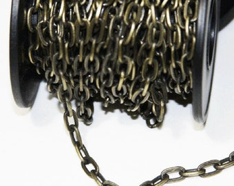 15ft of Antiqued Brass Flattened Drawn Cable chain 4x8mm