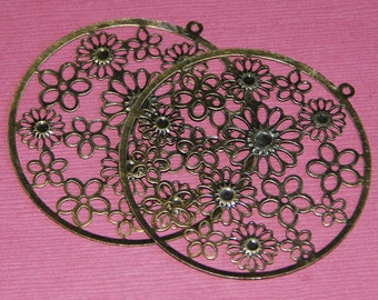 A pair of Antiqued Brass filigree flat round 55x57mm