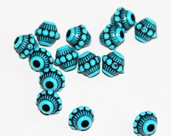 Vintage Acrylic rondelle beads 7.5x7mm Blue with Black accent