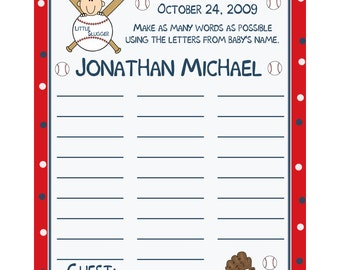 24 Personalized Baby Shower Name Game  LITTLE SLUGGER