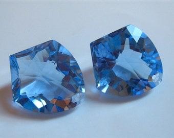 Beautiful AAA Sky Blue Topaz Fancy Cut Focal Briolettes 16mm x 19mm (23.44carats) semi precious gemstone focal briolette beads