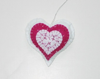 Felt Heart Hand Embroidered Beaded Dark Pink and White