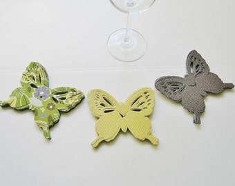 Wine Glass Butterfly Place Card Green Gray Pattern (72)
