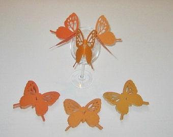 Wine Glass Butterfly Place Card Pumpkin Orange (128)