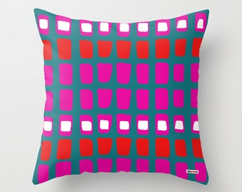 Blue and Pink Decorative throw pillow cover - Colorful pillow cover - Modern pillow cover