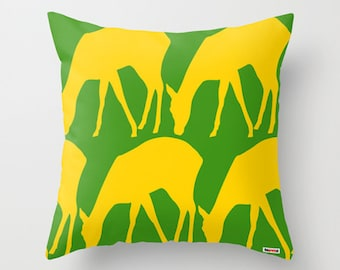 Decorative throw pillow cover Deers - Green and yellow pillow cover - Modern pillow - Sofa pillow - couch pillow - contemporary cushion