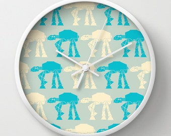 Star wars Wall clock - blue and white wall clock - Designer gift - ATAT -Nursery decor - Contemporary decor - Wall Decor - Wall art