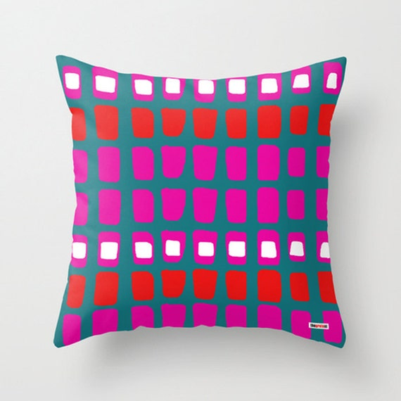 Blue And Pink Decorative Pillows : Blue and Pink Decorative throw pillow cover Colorful pillow