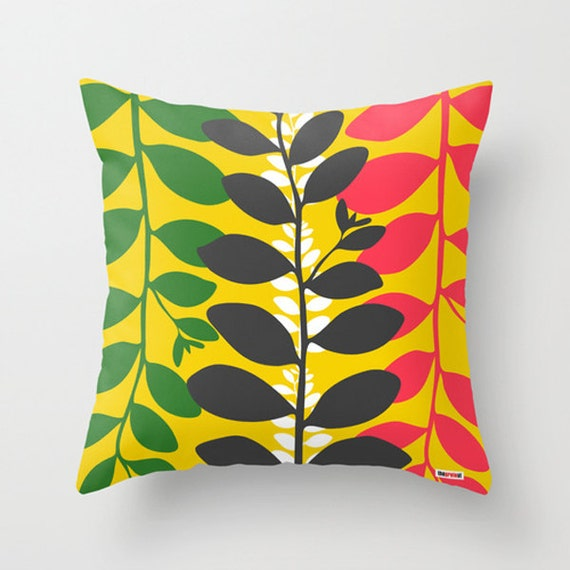 Items similar to Decorative throw pillow cover Happy leafs - Colorful pillow cover - Modern ...