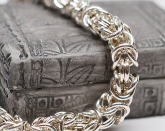 Chunky 14 gauge sterling silver byzantine chainmaille bracelet