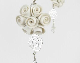 CLEARANCE! - Li'l Bouquet Polymer Clay Rose Bridal Earrings