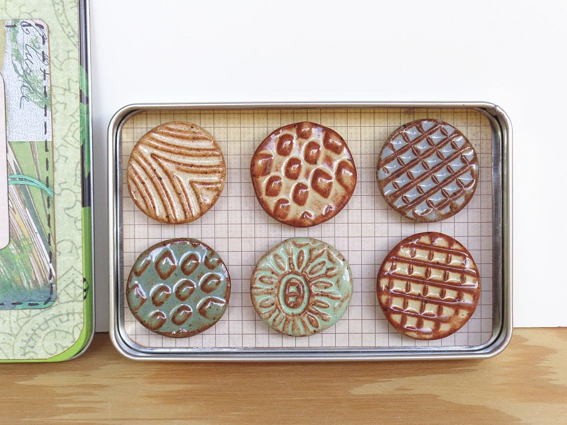 Rustic Clay Fridge Magnet Set Of 6 Ceramic Magnet Set