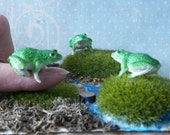 PKG of 3 Vintage Miniature Fairy Garden Frog Frogs Toad Toads Terrarium Cake Toppers Ornaments Dioramas