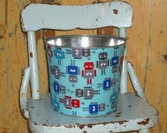 Galvanized Metal Jr. Bucket Retro Aqua Blue Classic Red Robots