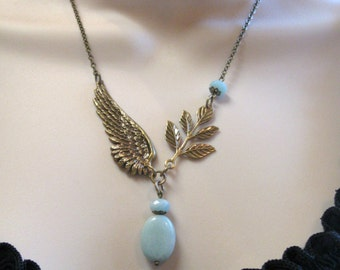 Amazonite necklace, angel wing, blue gemstone beads - nature inspired, brass wing