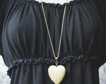Heart locket necklace, vintage, long chain, textured locket, brass, keepsake pendant