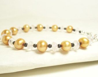Golden Princess Bracelet, Gold Pearls, Pink and Black Gemstones, Stering Silver - Perfect for Easter.