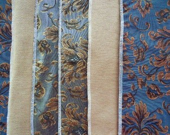 Upscale Table Runner Using Three Designer Fabrics in Shades of Blue, Cream And Brown