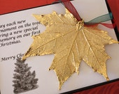 Gold Maple Leaf Ornament, Sugar Maple Leaf, Extra Large, Ornament Gift, Christmas Card, Happy Holiday Gift, First Christmas, ORNA64