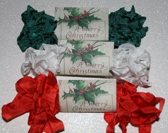 Crinkled Seam Binding  Ribbon 15 Yards, Christmas Colors, Red Green and White