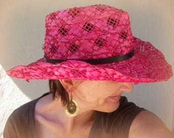 Filippo Catarzi straw hat / Italian RED woven hat / cowgirl hat / boho hat, 22 3/4 around