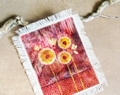 decorative fiber art piece, mini quilt, frameable fabric art, abstract floral wall hanging