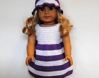Instant Download - PDF Crochet Pattern - American Girl Doll Clothes 38 - Dress and Hat