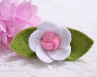 Set of 6pcs handmade felt flower--white (FT435)
