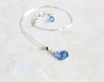 Swarovski Crystal Necklace Teardrop Baroque Sterling Pendant BN7 Aqua AB