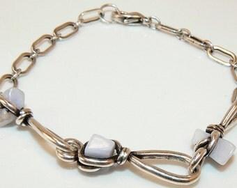 Antique Silver Wrapped Agate Stone Bracelet, Pale Blue Agate Stone Bracelet, Baby Blue Bracelet, Rustic Silver Chain Bracelet (2244)