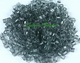 8/0 Hex TOHO Glass Seed Beads #9-Transparent Black Diamond 15g