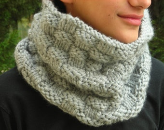Dolphin Grey bulky knit cowl hand knitted neck warmer basketweave pattern country chunky yarn men women handknit gift bulky rustic simple