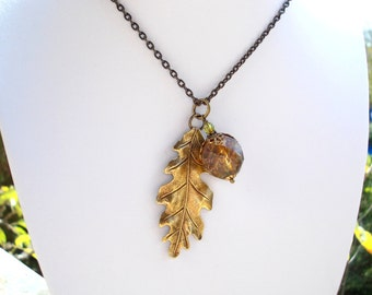 Oak Leaf and acorn necklace antiqued brass bronze inspired by nature winter forest tree leaves woodland vintage chic retro victorian style