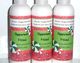 Peppermint Kissed Candy Cane Scent Smooth As Satin Hand and Body Lotion 9 Ounce Bottle