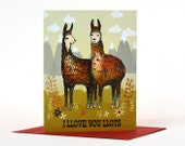 Love Card - I Llove you Llots - Llamas Card