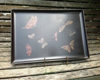 Vintage Brown Mica Serving Tray with Butterflies and Dragonflies