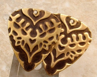 Guitar Pick, India, Embossed Brass Charm 2 Pc.  E82