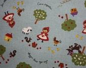 1/2 yard Kokka Japanese Little Red Riding Hood linen fabric Blue