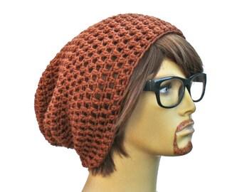 Brown Slouch Beanie Brown Slouchy Crochet Beanie Mens Womens