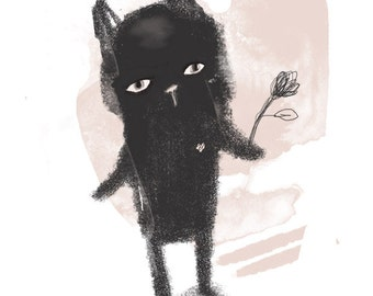Black cat with flower - Children's Wall Art - Print - 8x11 inches