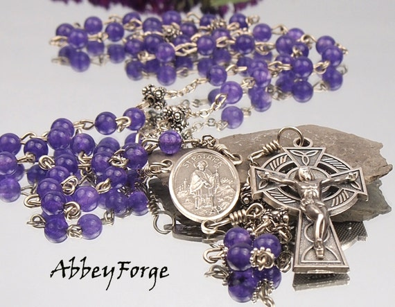Amethyst Jade Catholic Rosary with Pewter Celtic Cross and St.Patrick Centerpiece by AbbeyForge on etsy $89.00 USD