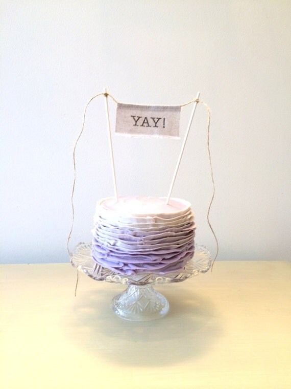 Cake Topper - Linen Banner Style - YAY