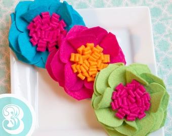 Wool Felt Flower Set of Three