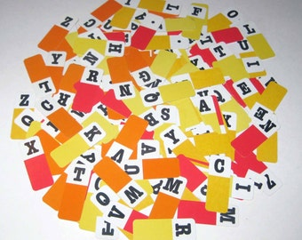 Vintage Letter Game Pieces with Yellow Orange Red and White Background and Black Letters Set of 154