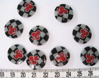 28 pcs of  Graphic Print  Button - 18mm Club Card