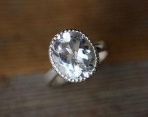 Size 5 Ready To Ship, Vintage Inspired Handmade Engagement Ring,  Milgrain White Topaz Ring in Sterling Silver