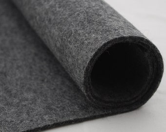 "100% Wool Felt Fabric - 1 Yard x 1/2 Yard (36"" x 18"") - 3mm Thick - Made in Western Europe - Natural Dark Grey"