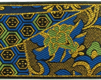 KIMONO Jacquard trim Green blue gold on black 2 inch wide 964-A