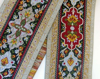 """1 yard 8"""" DANTE Composite Jacquard trim in Olive green, Wine red, ivory, mustard, silver, grey on black. 2 3/4"""" wide. 972-C"""